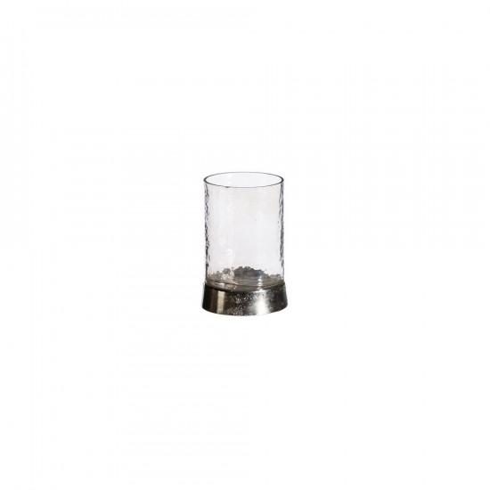"""Portavelas vidrio """"antique"""" plata 13 cm"""