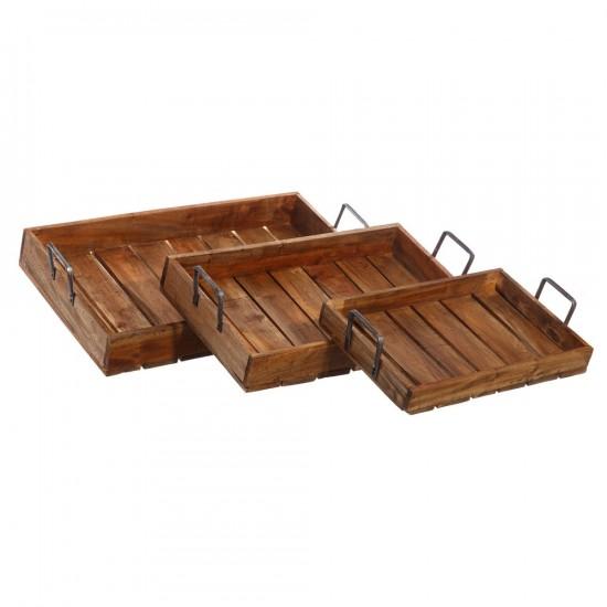 Juego de tres bandejas de madera natural de caoba y pino