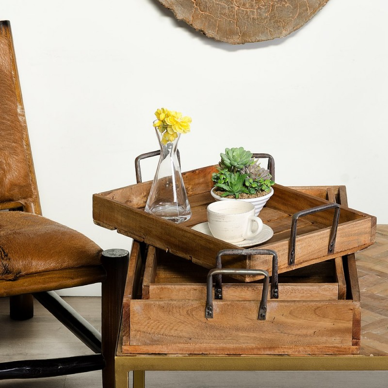 Juego de tres bandejas de madera natural en caoba y pino juego de tres bandejas de madera natural de caoba y pino altavistaventures Choice Image