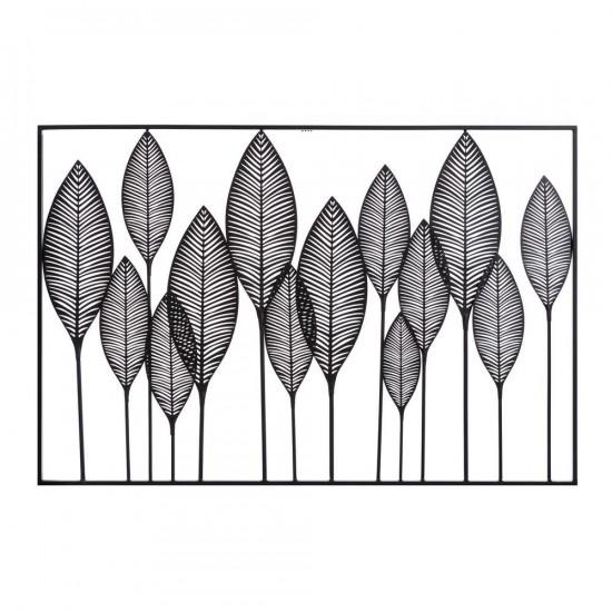 Mural de pared hojas en metal negro 121 x 81 cm