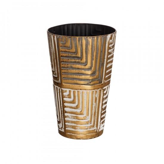 """Jarrón metal """"udara"""" oro-blanco 35 cm"""