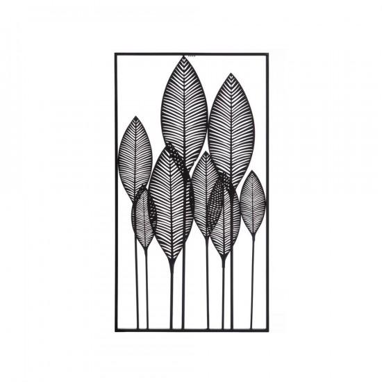 Mural de pared vertical hojas en metal negro 52 x 95 cm