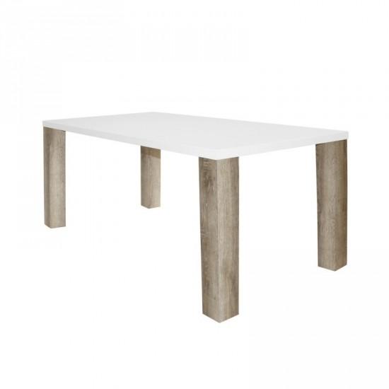 """Mesa """"matte"""" blanca-natural 140 cm"""