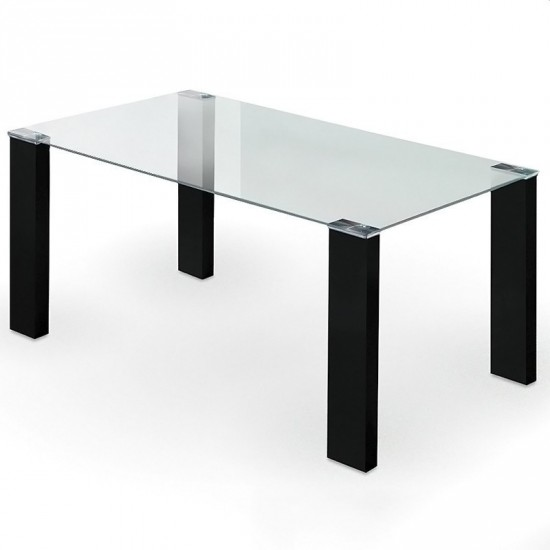 "Mesa ""matte"" cristal negra 160 cm"