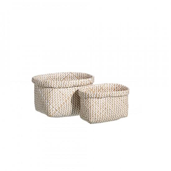 Juego de dos cestas de junco trenzado en blanco natural de 25 x 19 cm