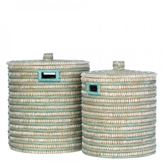 Juego de dos cestas de junco trenzado en color verde y blanco 45 x 50 cm