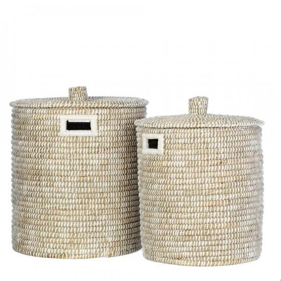 Juego de dos cestas de junco trenzado color natural y blanco 45 x 50 cm