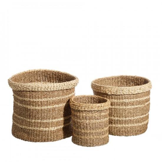Juego de tres cestos de junco hilado en color natural de 35 x 30 cm
