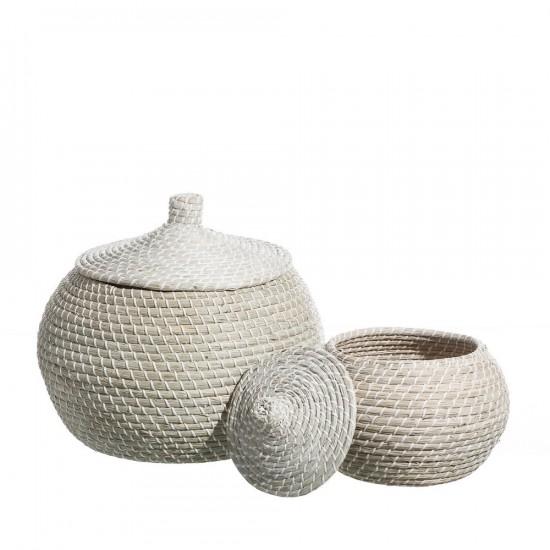 Juego de dos cestos de junco hilado color blanco de 44 x 25 cm