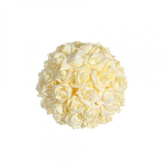 Bola pequeña de rosas color crema 15 cm