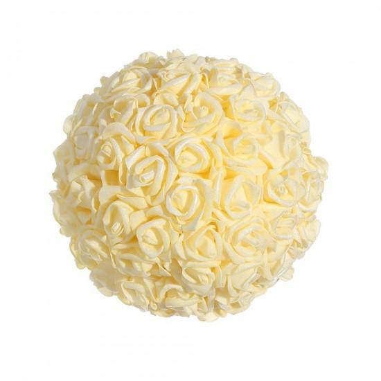 Bola mediana de rosas color crema 20 cm