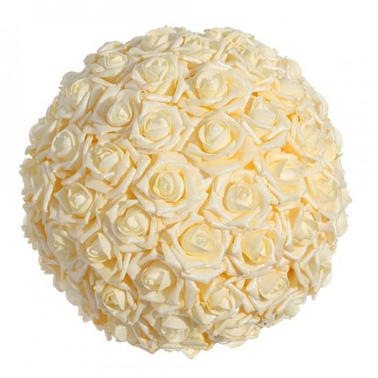 Bola mediana de rosas color crema 30 cm